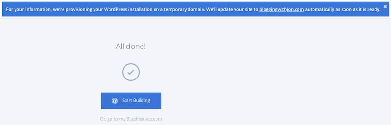 Bluehost Start Building
