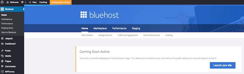 Bluehost WordPress Dashboard