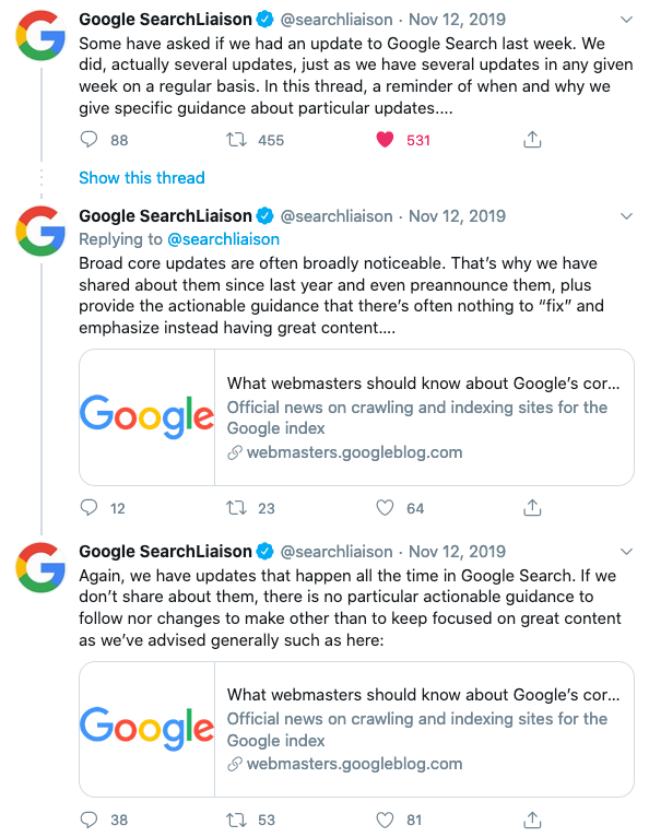 Google Tweets November 12 2019